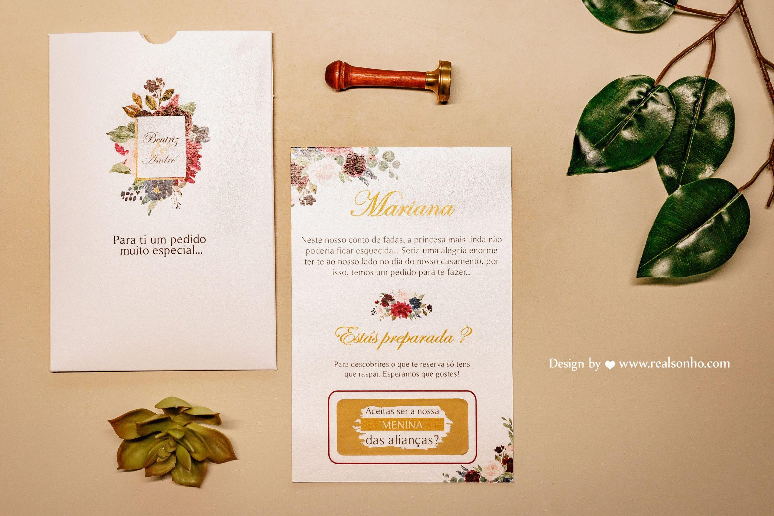 Convite Raspadinha Burgundy (Menino/Menina das Alianças)