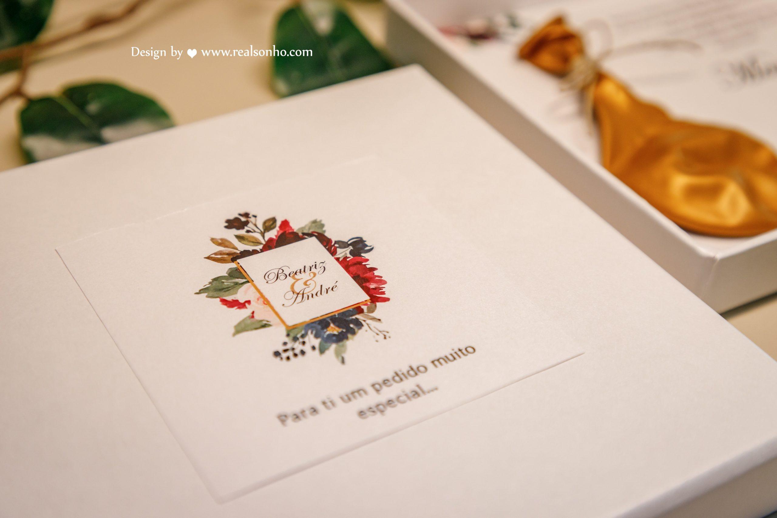 Convite Menina/Menino das Alianças BURGUNDY CS-CMA007