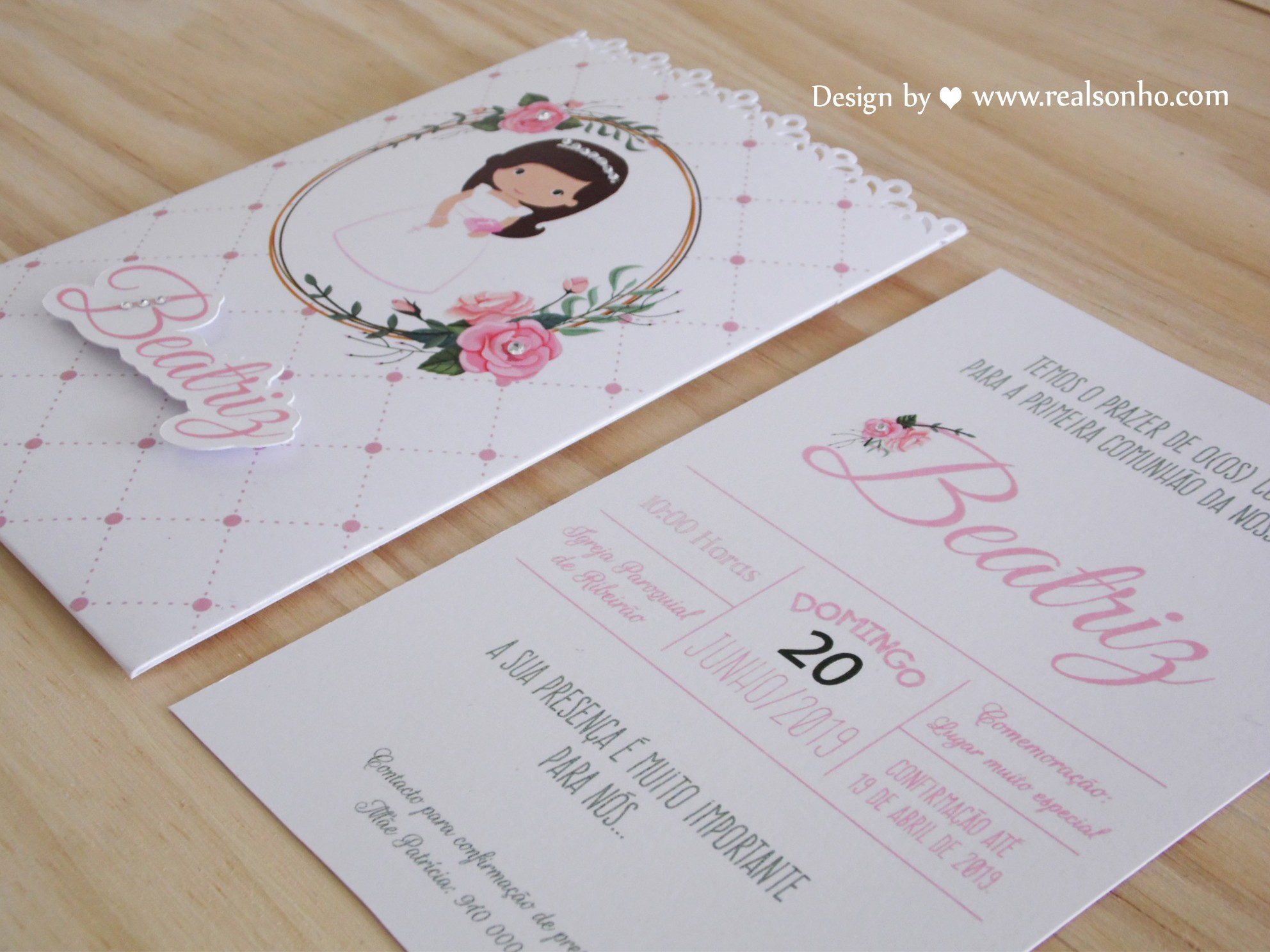 Convite de Comunhão (menina) CM-C041